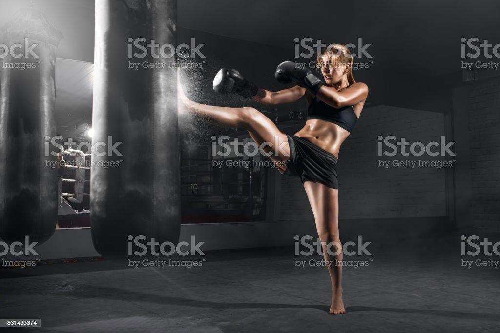 KIKBOXING GIRL stock photo