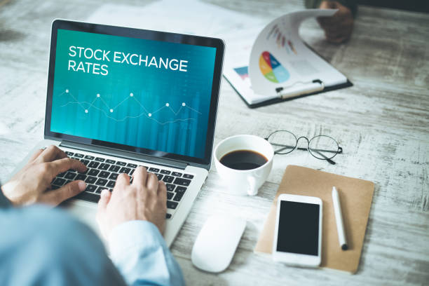 STOCK EXCHANGE RATES CONCEPT stock photo