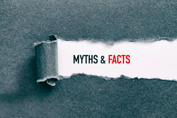 MYTHS AND FACTS MYTHS AND FACTS written under torn paper. information equipment stock pictures, royalty-free photos & images