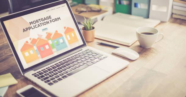 concept de demande de prêt hypothécaire - emprunt immobilier photos et images de collection