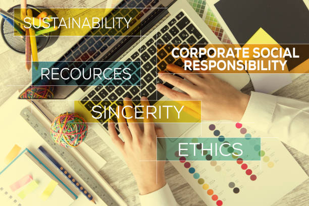 corporate social responsibility concept - responsible business stock photos and pictures