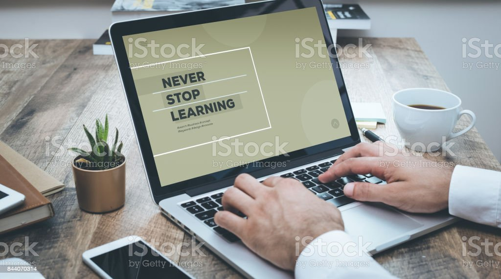 NEVER STOP LEARNING CONCEPT stock photo