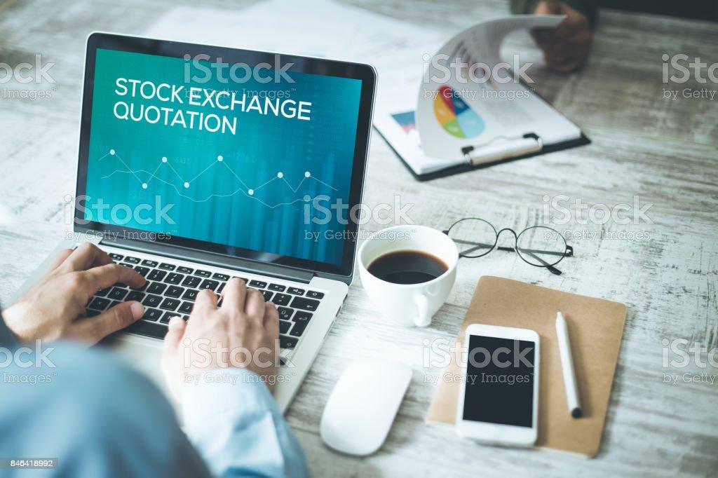 STOCK EXCHANGE QUOTATION CONCEPT stock photo
