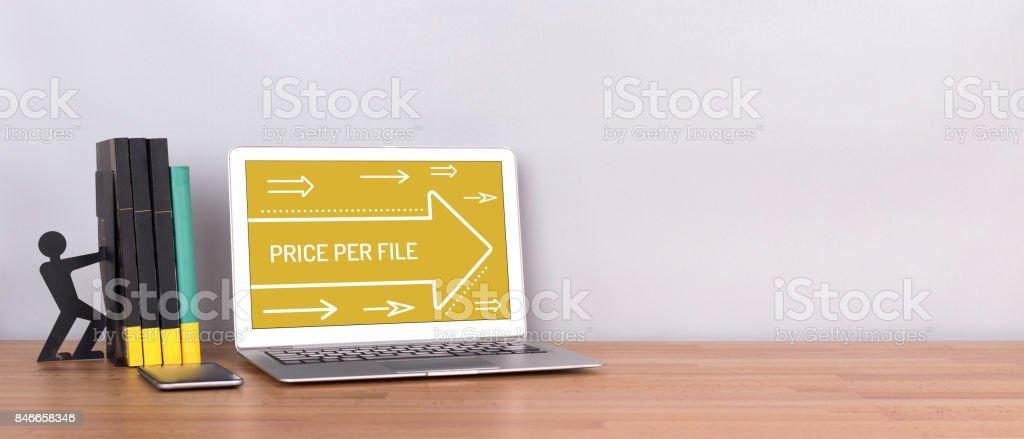 PRICE PER FILE CONCEPT stock photo