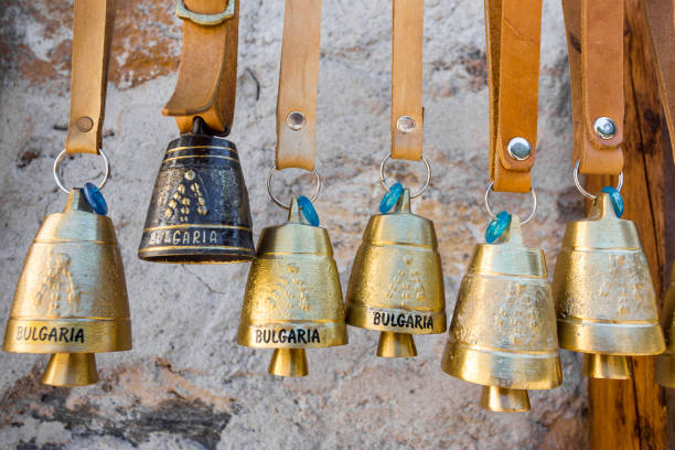 BULGARIA TRADITIONAL BELLS MOUNTAIN Rhodope brass sheep bells in village of Shiroka Laka, Bulgaria. bulgaria stock pictures, royalty-free photos & images
