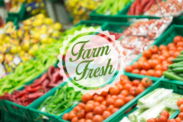 farm fresh concept - food logo stock photos and pictures