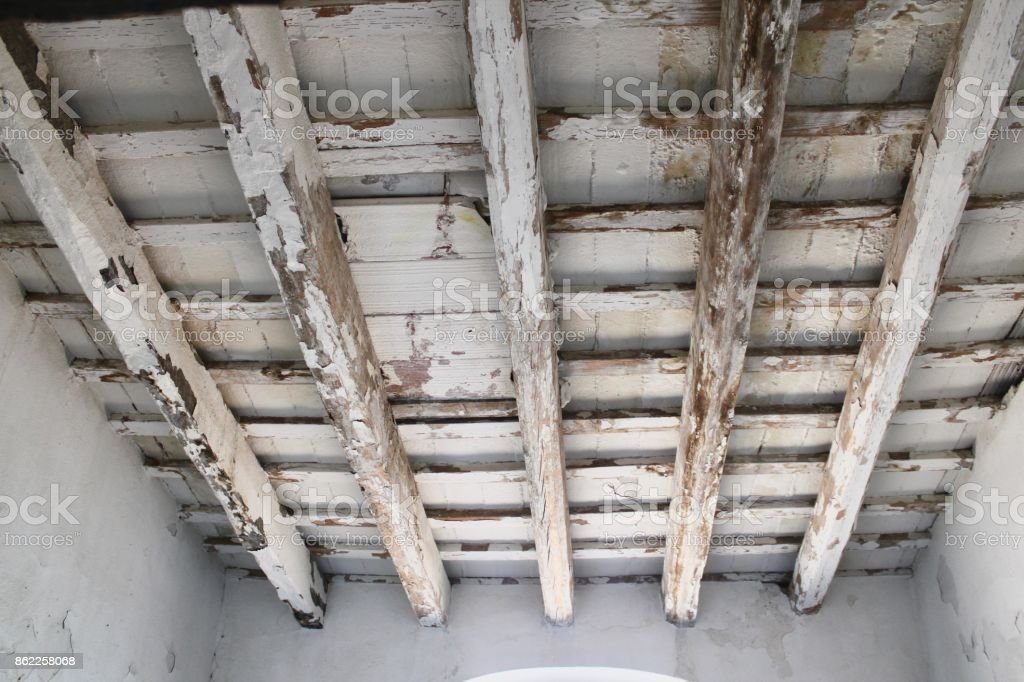 WOODEN CEILING BEAMS stock photo