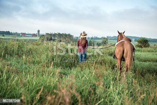 Girl with Horse holding rein and looking into the distance at a beautiful View.  Can symbolize friendship, companionship and trust.
