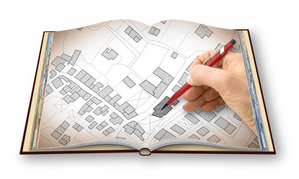 CATASTO LIBRO - TEMPLATE 2017 Hand drawing an imaginary cadastral map of territory with buildings and roads - I'm the copyright owner of the images used in this 3D render libro stock pictures, royalty-free photos & images