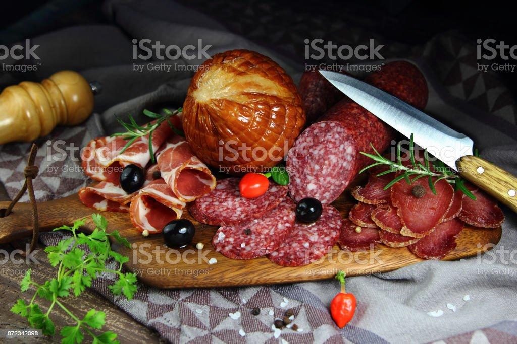мясные деликатесы stock photo