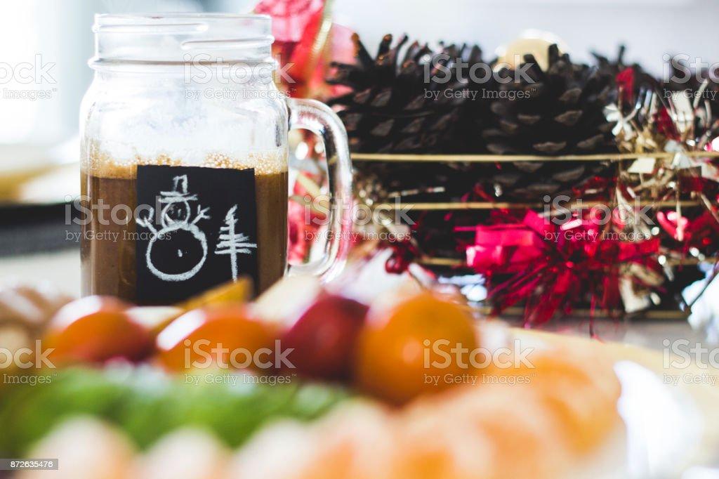 COLORFUL CHRISTMAS FRUIT BREAKFAST stock photo