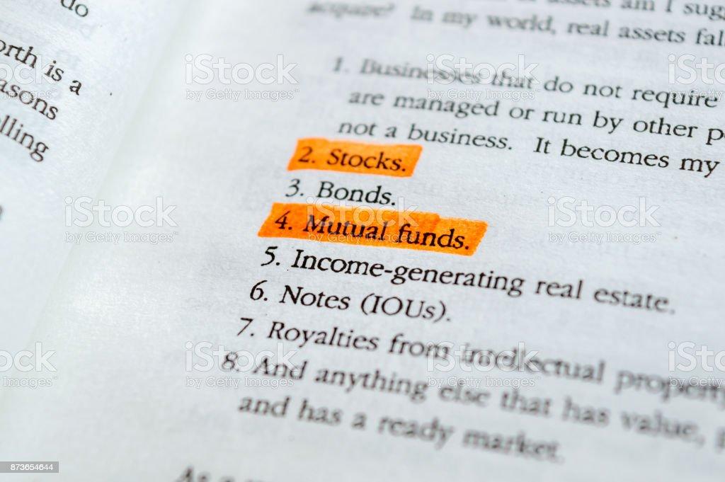 STOCKS MUTUAL FUNDS stock photo