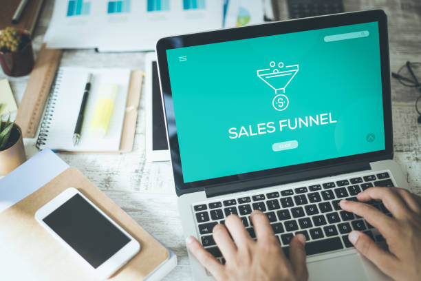 SALES FUNNEL CONCEPT stock photo