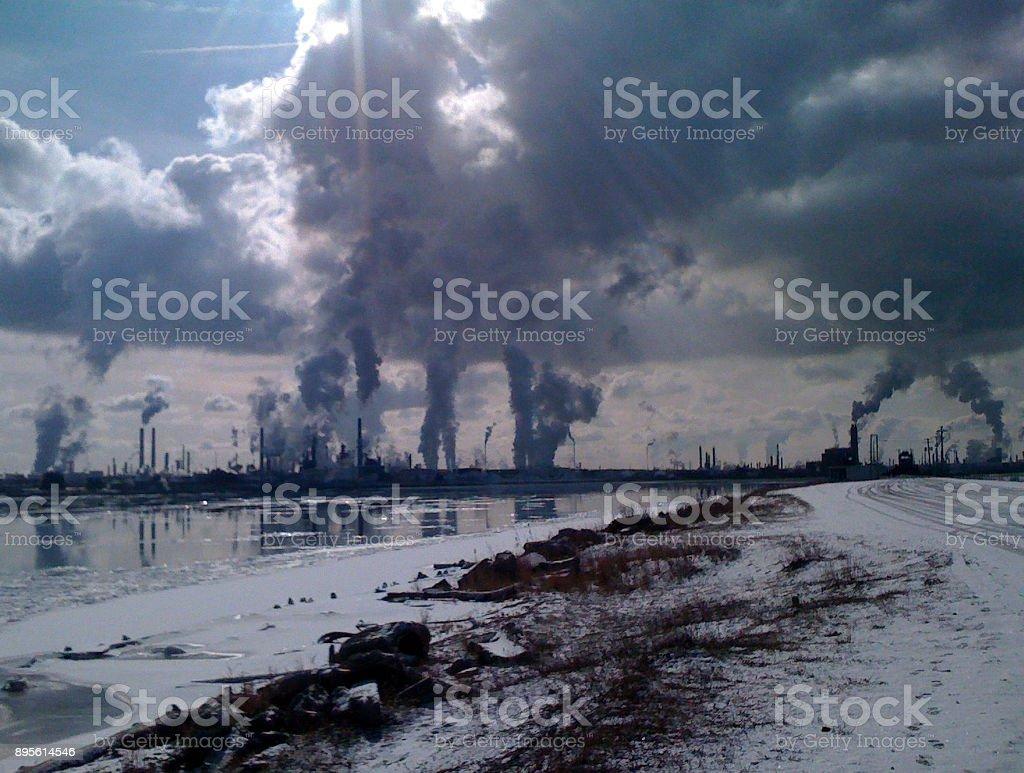 STACKS, STEAM AND SMOKE stock photo
