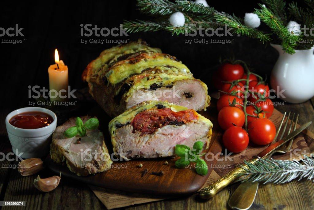 мясной рулет с брусничным соусом stock photo