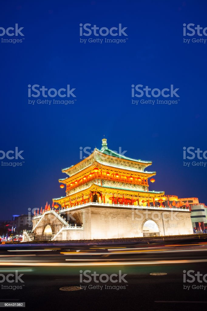 BELL TOWER IN XI'AN stock photo