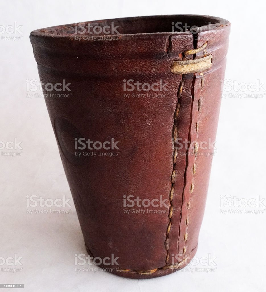 LEATHER DICE CUP stock photo