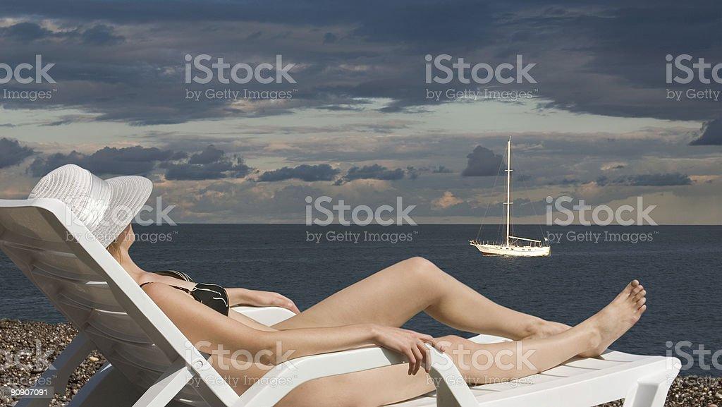 GIRL ON BEACH royalty-free stock photo