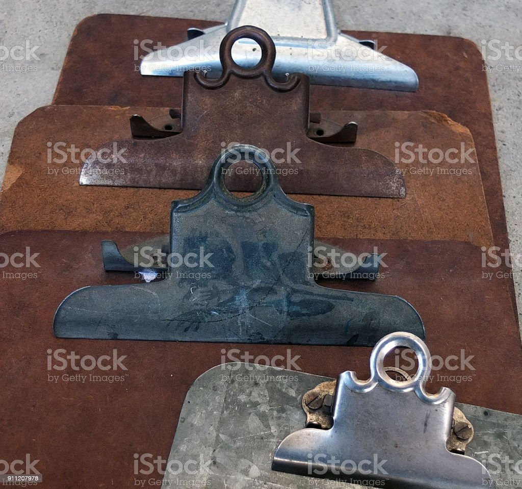 OLD CLIPBOARDS stock photo
