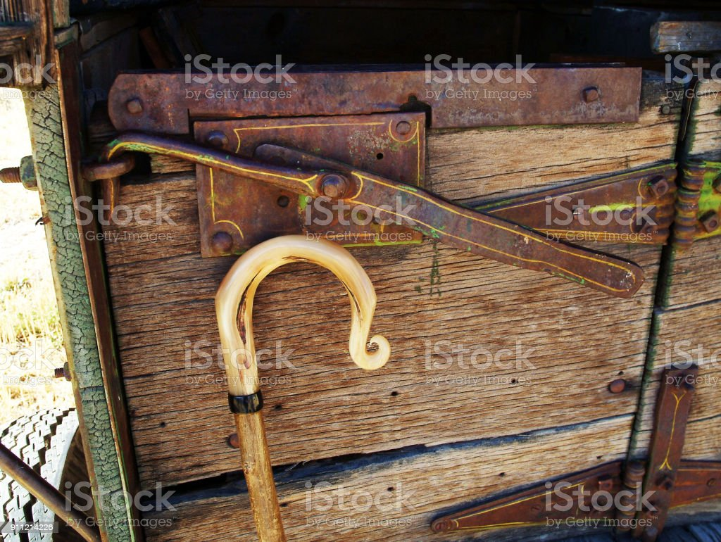 SHEPHERDS CROOK AND WAGON stock photo