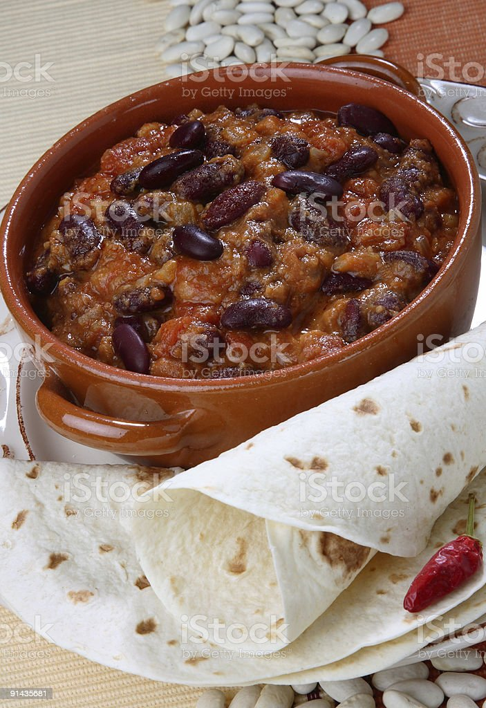 BAKED BEANS WITH PANCAKES IN MEXICAN WAY royalty-free stock photo