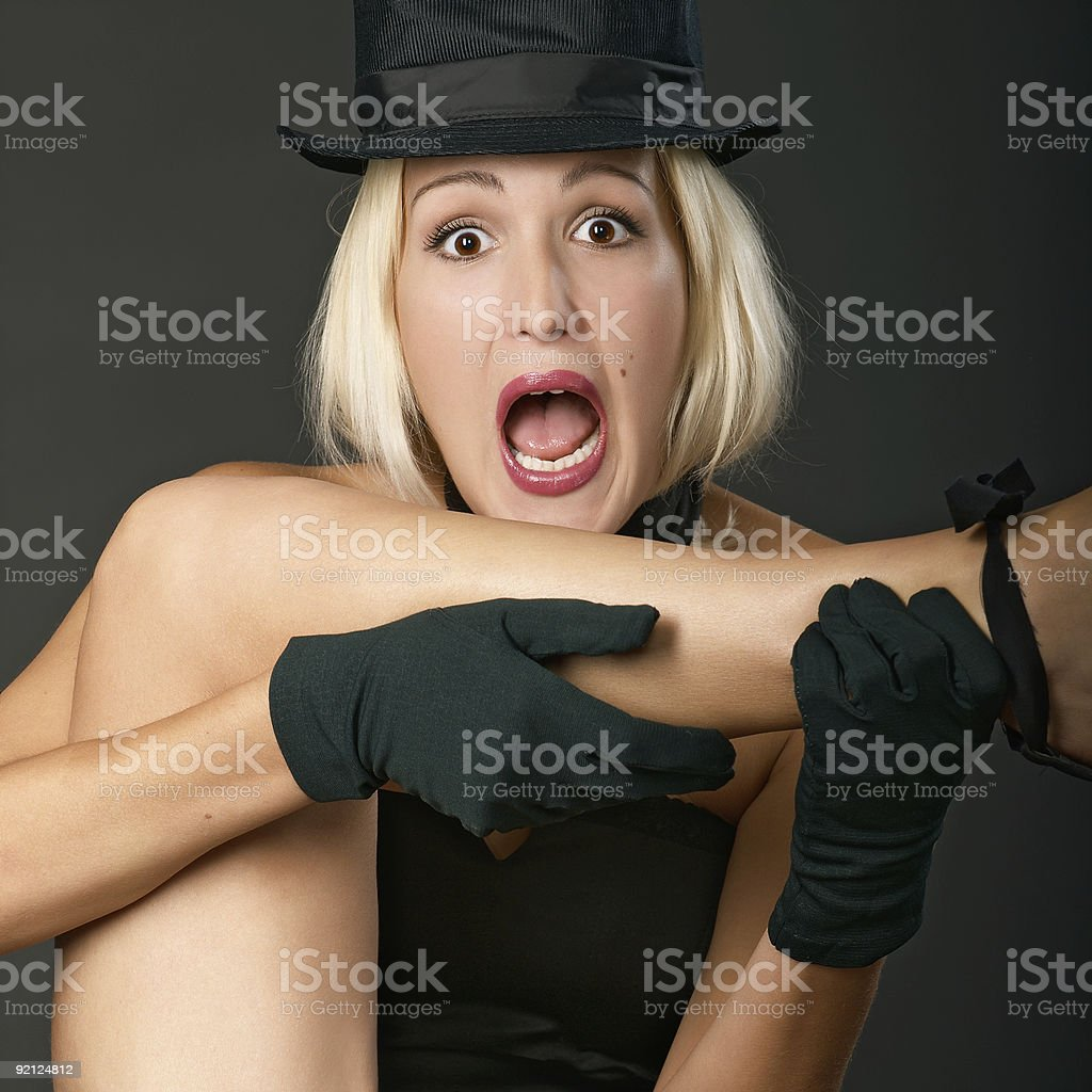 VARIETY SHOW WOMAN SCREAMS. stock photo