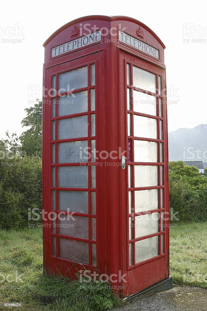 FROZEN RED PHONE BOX royalty-free stock photo