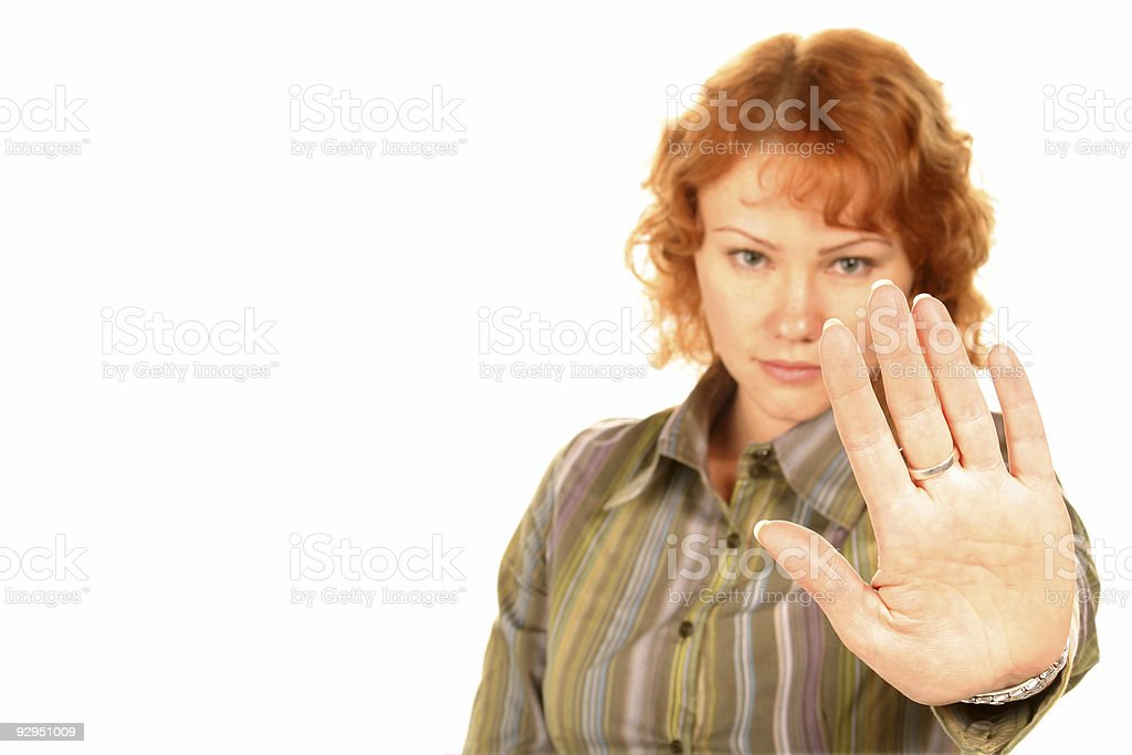 STOP (focus on hand) royalty-free stock photo
