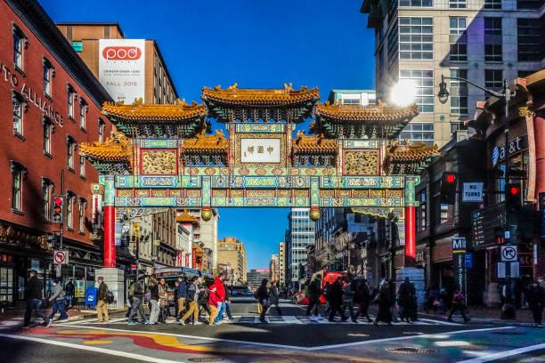 washington dc usa - chinatown stockfoto's en -beelden