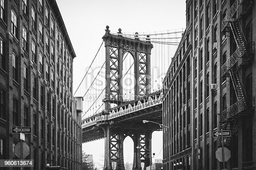 The iconic black and white shot of the Manhattan bridge from Washington Street. Brooklyn, NY. USA