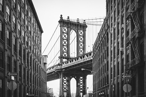 The iconic black and white shot of the Manhattan bridge from Washington Street. Brooklyn, NY. USA