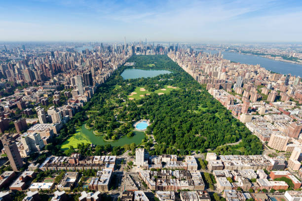2383 Aerial shot of Central Park, Manhattan, New York. new york state stock pictures, royalty-free photos & images