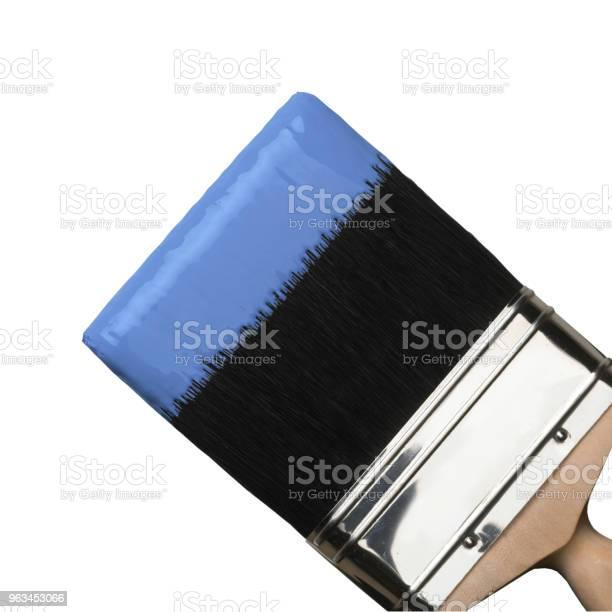 Pędzel Z Niebieską Farbą Na Włosiu - zdjęcia stockowe i więcej obrazów Bez ludzi