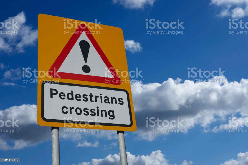 YELLOW PEDESTRIAN CROSSING SIGN - Royalty-free Blue Stock Photo