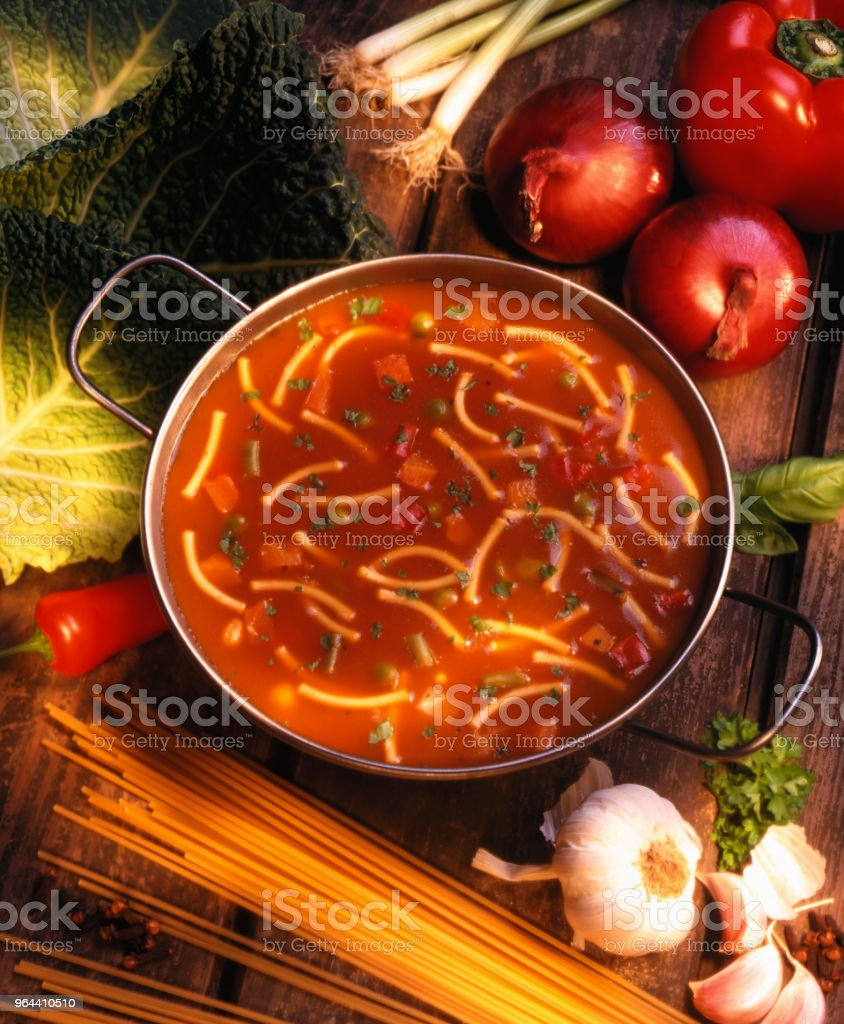 BOWL OF TOMATO AND PASTA SOUP - Royalty-free Cooked Stock Photo