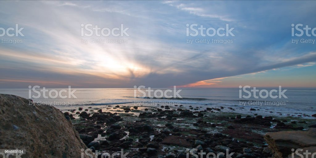 SUNSET TWILIGHT ON POINT LOMA TIDEPOOLS AT CABRILLO NATIONAL MONUMENT IN SAN DIEGO IN SOUTHERN CALIFORNIA UNITED STATES royalty-free stock photo