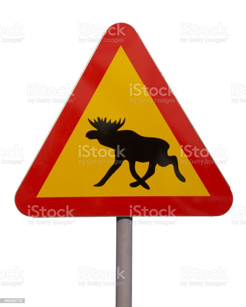 RED AND YELLOW MOOSE TRAFFIC SIGN zbiór zdjęć royalty-free