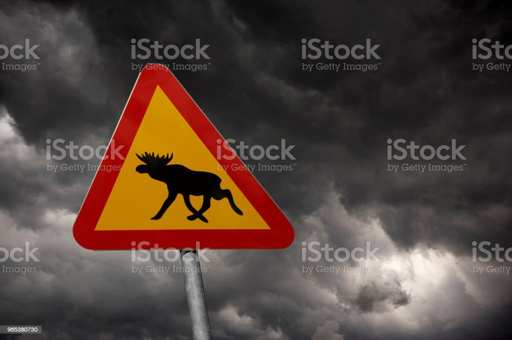 RED AND YELLOW MOOSE TRAFFIC SIGN AND STORMY SKY royalty-free stock photo