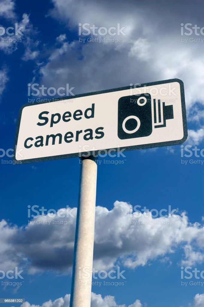 SPEED CAMERA WARING SIGN zbiór zdjęć royalty-free
