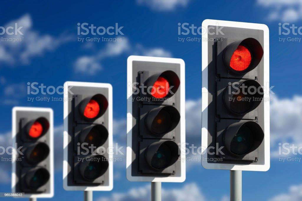 4 빨간 신호등 - 로열티 프리 0명 스톡 사진