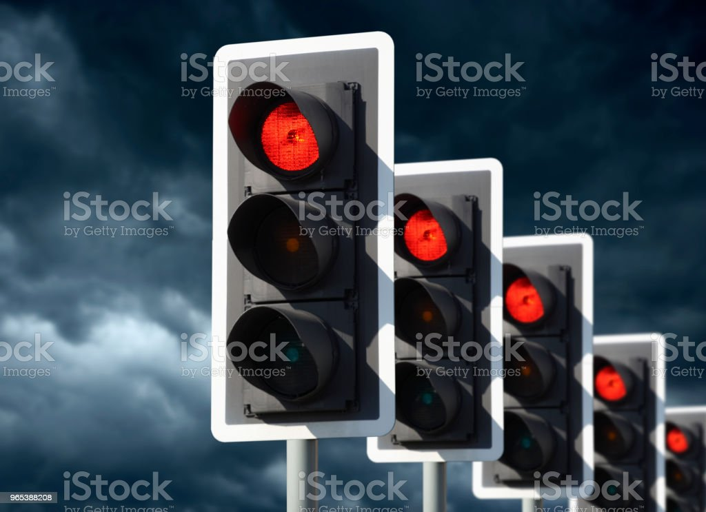 FIVE ROAD TRAFFIC LIGHTS SHOWING RED zbiór zdjęć royalty-free