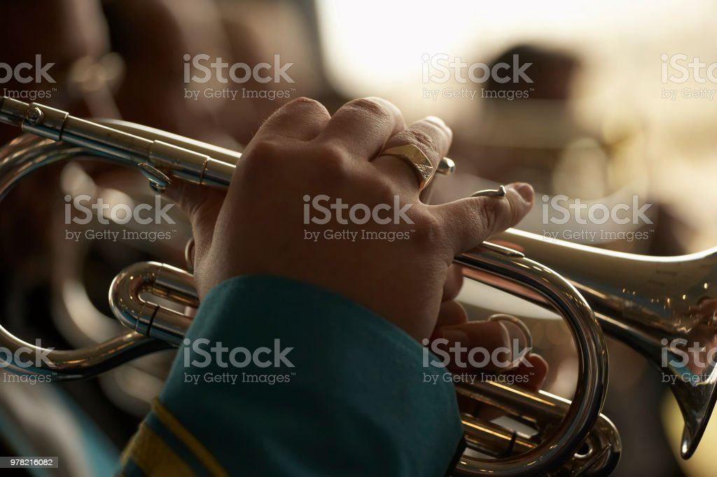 TRUMPET PLAYER IN CLOSE UP stock photo