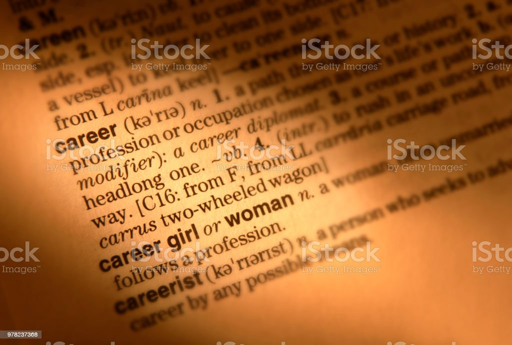 Dictionary Page Showing Definition Of The Word Career Stock