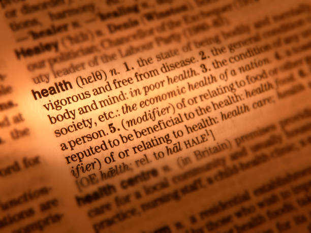 wörterbuchdefinition seite zeigt das wort gesundheit - definition krankheit stock-fotos und bilder