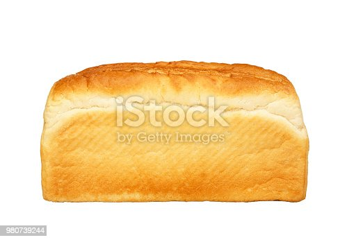 SINGLE LOAF OF WHITE BREAD ISOLATED ON WHITE BACKGROUND