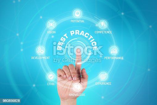 926292396 istock photo BEST PRACTICE TECHNOLOGY COMMUNICATION TOUCHSCREEN FUTURISTIC CONCEPT 980856828