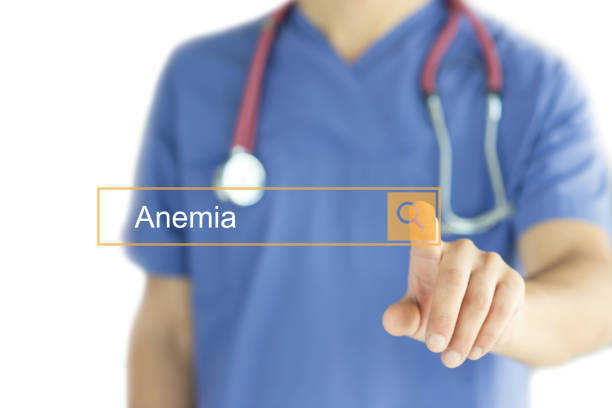 doctor working modern interface touchscreen searching and anemia  concept - anemia foto e immagini stock