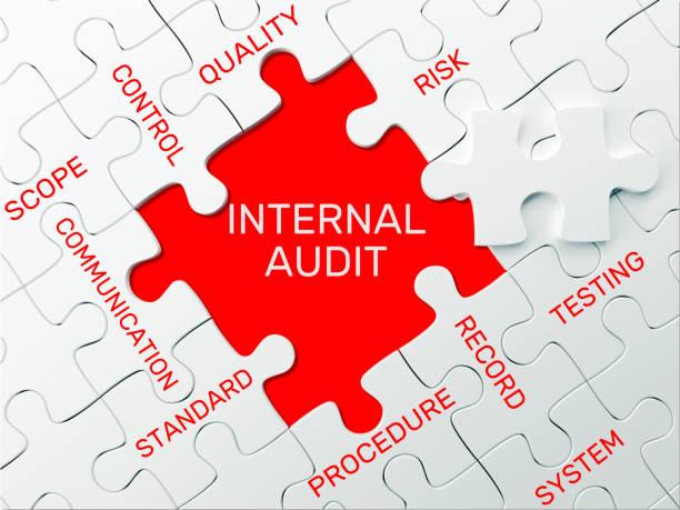 internal audit - puzzle concept - ispezione contabile foto e immagini stock