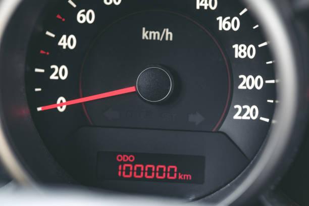 100k mileage car stock photo