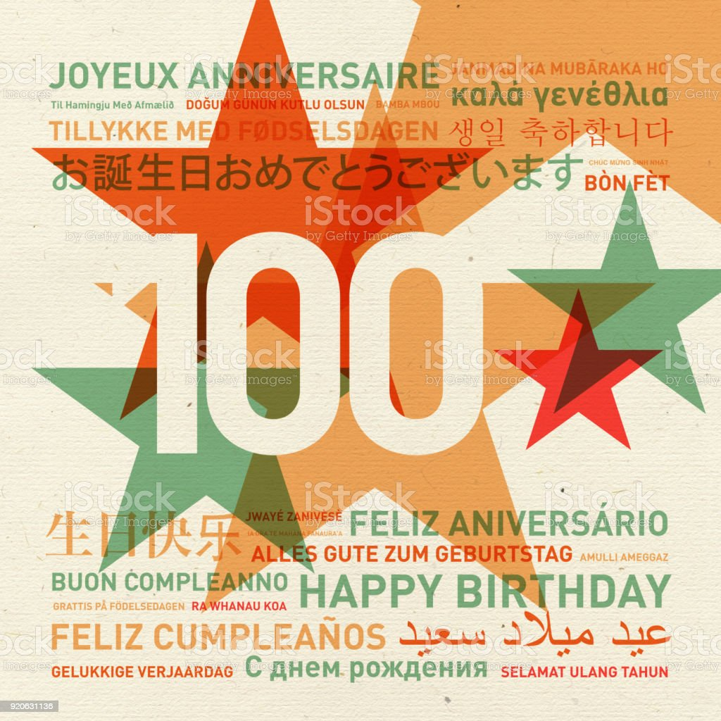 100th anniversary happy birthday card from the world stock photo